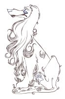 afghan hound vector lineart by wrathofthepuppy