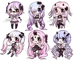Pastel Goth Chibi Adoptables (0/6) CLOSED by Hunibi