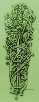 Green Knight's Sword and Vine by Tattoo-Design