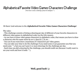 Alphabetical Favorite Video Games Characters Chall by TalUnion