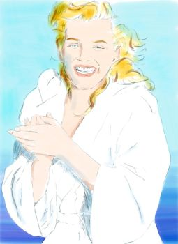 M Monroe at the beach by artbydarryl