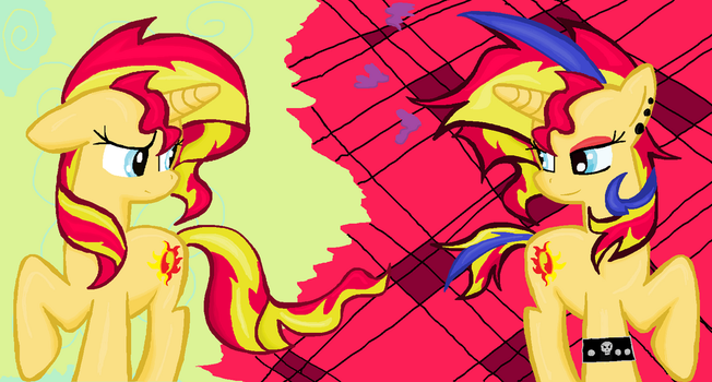 Sunset Shimmer DAY vs punk speedart in ms-paint by sallycars