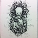 Robin skull design with roses
