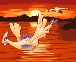 Lugia and Wingull take Flight