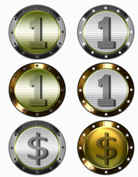 Silver and gold coins by IconSkoulikiGraphics
