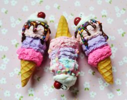 Polymer Clay Miniature Ice Cream Cone Charms by ScrumptiousDoodle
