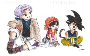 Trunks, Pan and Goku by Nenie