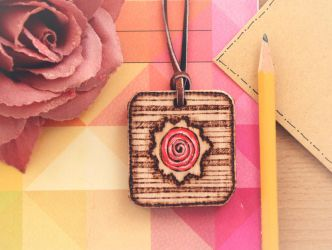 Wooden rose - pendant by Aijoku