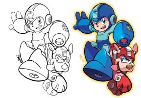 Inks to Colors - Mega Man and Rush by herms85