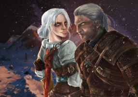 Ciri and Geralt by MightyTimArt-IDale