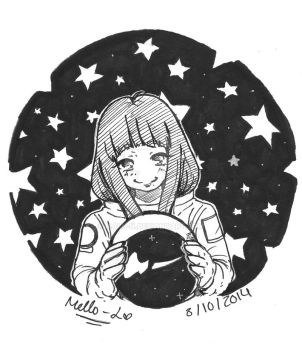 Inktober day 8 - Space Girl by Mello-L