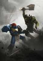 Ultramarine vs Ork by korpehn