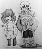 Frisk and Sans Undertale by Sadowfox