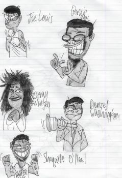 Inktober Day 8: Black History Doodles by WlanProductions