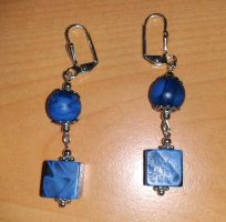 blue pearl and cube earrings by syn-O-nyms