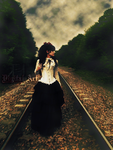 Lady in a railway by hellra