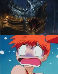 Misty's scared of the Indoraptor by Willy276