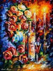 RED WINE IN THE NIGHT by Leonid Afremov by Leonidafremov