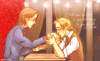 Gabriel and Sam in LeafZelindor's fics by comuto-sama