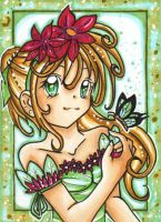 Girl with butterfly ACEO 70 by Mei-yu
