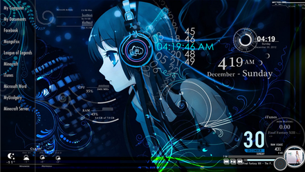 K-ON Mio Desktop Blue Theme by pandasroc24