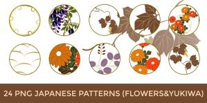 24 PNG Japanese Pattern (Flowers and Yukiwa) by o-yome