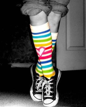 Rainbow socks and converse by Sgerby