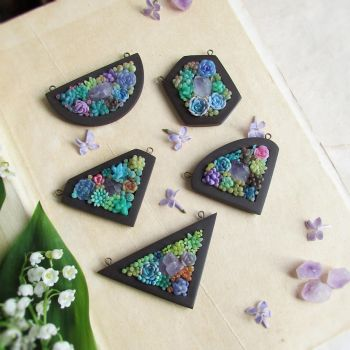 Succulents and Crystals Pendants by MarrieKo