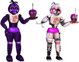 Shadow funtime Chica and old by Fnaf-fan201