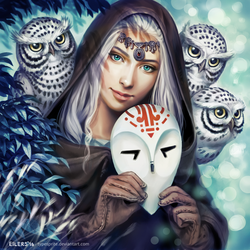 Lady with owls by typesprite