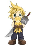 Cloud with his Chocobo by Kaeldri