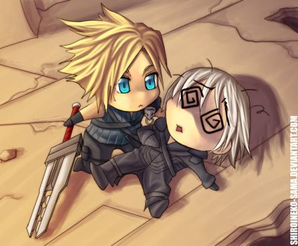 FF7AC: Chibi Cloud and Kadaj by ShiroiNeko-sama