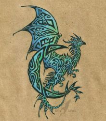 Lunar dragon tattoo by AlviaAlcedo