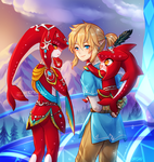 commission -- Mipha, Link and Baby Sidon by onisuu