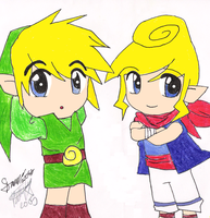 Link+Tetra Collab with Chibi by Jennaflamer12