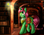 Pony in library (comission) by AgataNickia