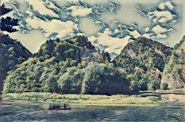 Raftsmen on Dunajec river by Pappart