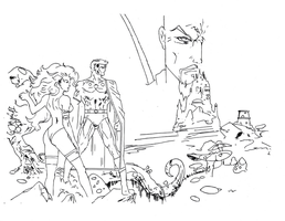 Flash gordon drawing (vector lines) by electronicdave