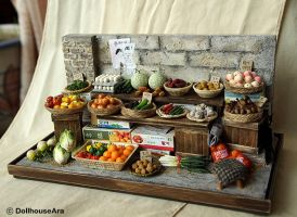 Vintage Street Shop-The alley Vegetable stalls by dollhouseara