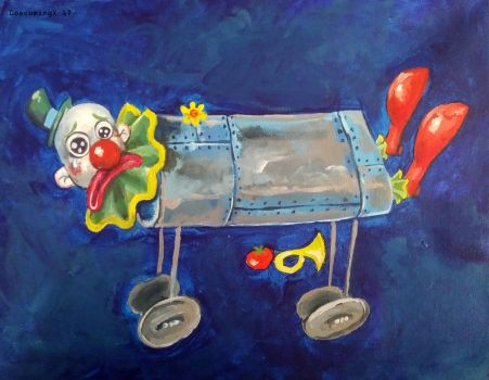 Clown in a iron lung by 0becomingX