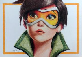 Tracer from Overwatch - Colored Pencil Drawing by shreyas-pailkar