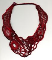 Red Needle Lace Necklace by Wabbit-t3h