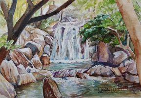 World Watercolor Month - Day 13 (Small Waterfall) by Harmony1965