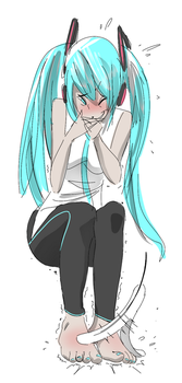 Tops of Miku Feets Ticklish by PawFeather