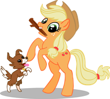 MLP Pets-Applejack and Winona by crystaltiger52