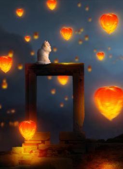 CAT AND LANTERNS by diepthienphong