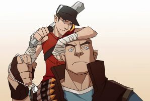TF2 heavy and scout by biggreenpepper
